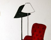 Original Drawing -Leather Reading Chair- 6x9, Ink and Marker on Paper by Jenna Newton