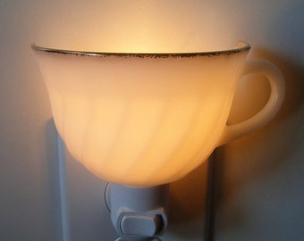 Anchor Hocking Fire King Golden Anniversary Glass Tea Cup Night Light