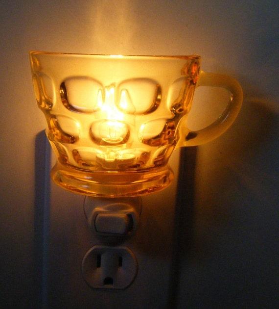 Light Gold Pressed Depression Glass Sugar Bowl  Night Light