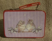 ACEO Storage Tin Lunchbox Bluebirds Lamb Chick
