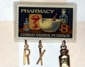 8 CENT PHARMACY POSTAGE STAMP CHARM PIN