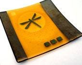 Decorative Plate, Glass Art, Home Decor - Amber Gold Dragonfly Fused Glass Plate