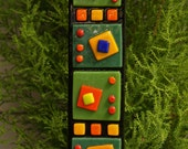 Garden Art  - 2x8 Green Orange Yellow Red Blue Black Fused Glass Stake