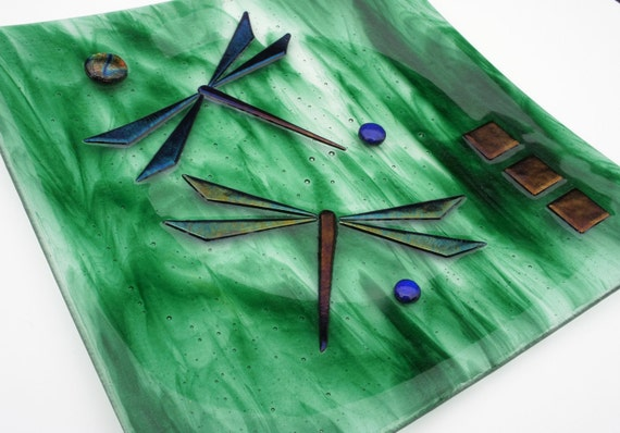 Shimmering Dragonflies on Green Streaky Glass with Gold Accent, Fused Glass Plate, Home Decor, Wall Decor