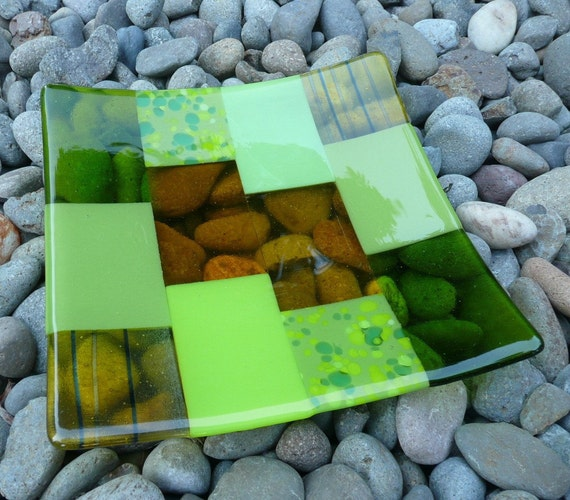 Yellow and Green Dancing Rectangles Fused Glass Kiln Formed Plate