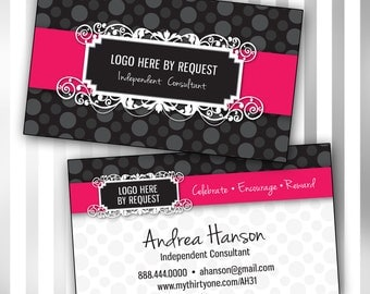Custom Consultant Double Sided Business Card Template (polka dot)