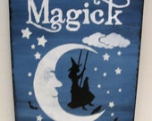 Primitive Midnight Blue Halloween Witch Sign Magick on the moon