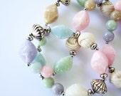 Vintage 80s Plastic Lightweight Pastel Beaded Necklace