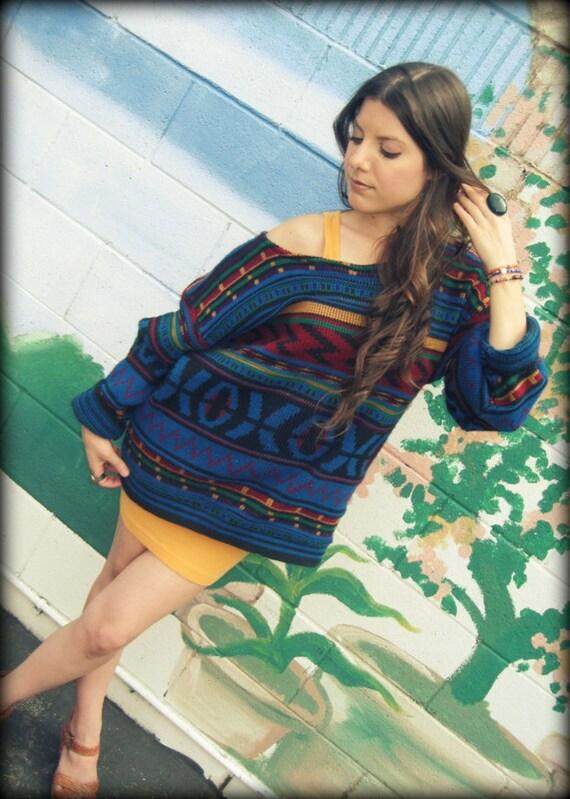 LOVE Hippie Vintage Chunky Scoop Neck  80's Navajo Sweater Top