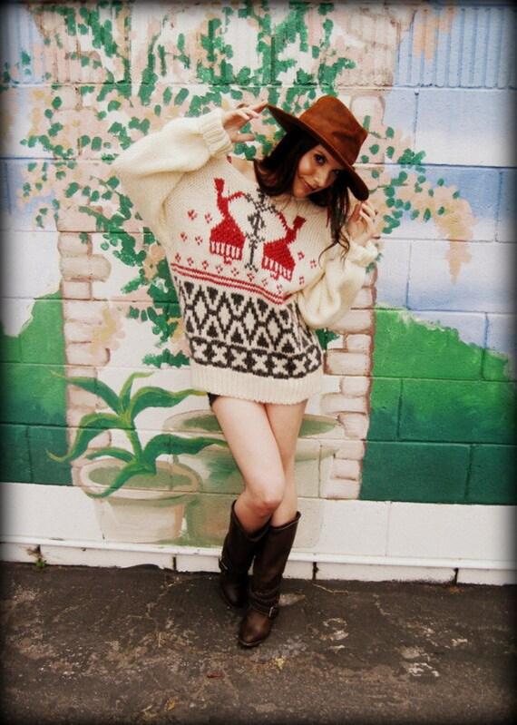 LOVE Vintage Hippie 80's Off-The-Shoulder Fair Isle Sweater Top Jumper