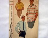 Vintage 1957 Mens Shirt Pattern. Simplicity 2081 Large