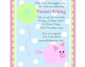 Girls Little Pink Piggy  Printable Invitation Package DIY