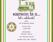 Girls' Vintage Train Printable Invitation Package