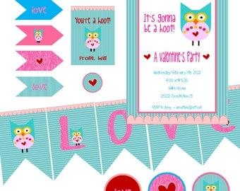 Owl Valentine Party Printables DIY