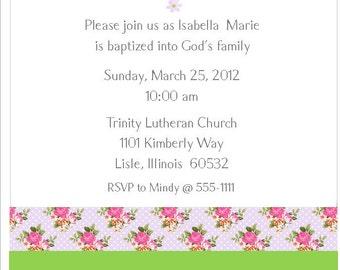 Girls' Shabby Chic Baptism Christening Printable Invitation