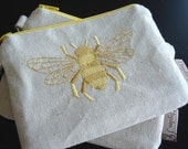 Bee Embroidered Zipper Pouch