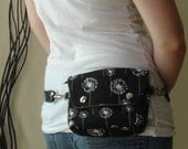 Convertible Hip Pouch - Black and White Dandelions