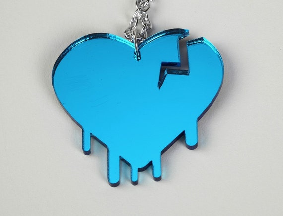 Broken Heart - Laser Cut Acrylic Electric Blue Necklace