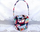 Large Fabric Easter Basket In Navy Blue with a Sports Theme