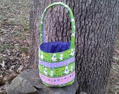 Large Fabric Easter Basket  with Bunnies and Chicks on a green, purple, and pink background