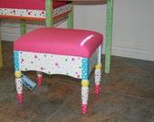 Custom hand painted stool w\/storage and hinged lid