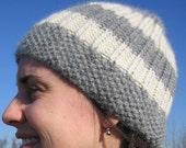 Fall/ Winter Knit Hat: Alpaca in Grey and White Thick Stripes