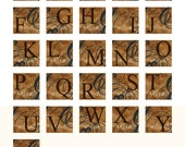 Papery Alphabet - Vintage inspired brown textured digital collage sheet for crafts