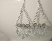 Gray and Aquamarine Crystal Chandelier Earrings