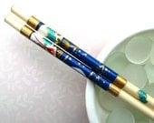 Floral Fans - Handmade Natural Lacquered Chopsticks