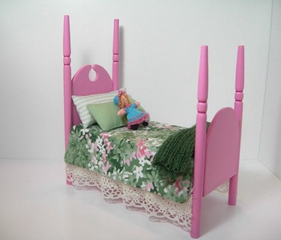 Miniature Tall-Post Pink Bed and Doll 1:12 Dollhouse Scale - Reserved for ledgerman