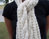 Chunky White Cable Scarf - Womens Long Knit Scarf - Ivory Cream Winter Ladies Handknitted Scarf - Teen Girls Chunky Scarf - Ivory White