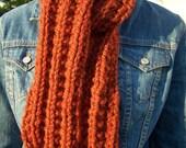 Chunky Orange Scarf - Mens Long Knit Scarf - Womens Warm Winter Scarf - Ladies Neckwarmer - Pumpkin Spice Rust