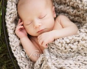 Baby Photography Blanket - Cable Knit Newborn Wrap - Chunky Blanket Prop - Cocoon in Oatmeal