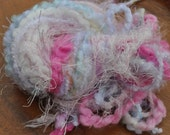 Destash Yarn Scrap Bundle For Craft Projects - Baby Girl Pastel Pink - Lilac - Green - White