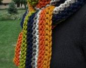 Womens Chunky Striped Scarf - Long Mens Retro Boho Scarf - Pear Green - Butterscotch Gold - Pumpkin Orange - Navy Blue - Brown - Oatmeal