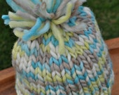 Chunky Baby Hat - Newborn Photo Hat - Soft Chunky Knit Hat - Fringe Pom Pom - Multicolor Boy Hat - Blue - Green - Taupe Brown - Ivory White