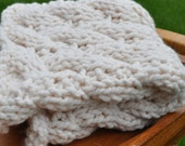 Chunky Cable Photo Blanket - Baby Photography Prop - Soft Cable Basket Filler - Knit Newborn Wrap - Cocoon Photo Prop - Ivory White