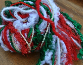 Destash Craft Yarn - Scrap Bundle For Projects - Scrapbooking - Fiber Art Yarn - Holidays - Christmas Red - Green - White - Gold