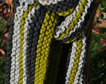 Green Chunky Scarf Gray - Knit Striped Multicolor Green Grey Scarf - Neckwarmer in Charcoal Gray - Pear Green - Light Marble Gray