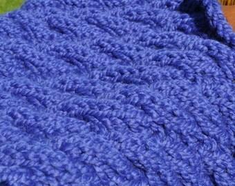 Blue Cable Baby Prop - Chunky Knit Blanket - Basket Filler Prop - Knit Trenchbowl Prop - Soft Baby Cocoon - Newborn Blanket - Cobalt Blue