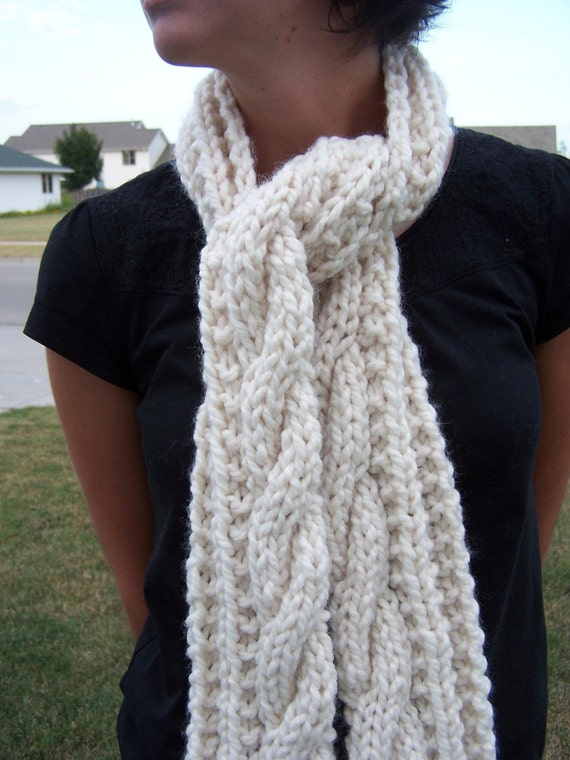 Items similar to Chunky White Cable Scarf - Womens Long Knit Scarf - Ivory Cr...