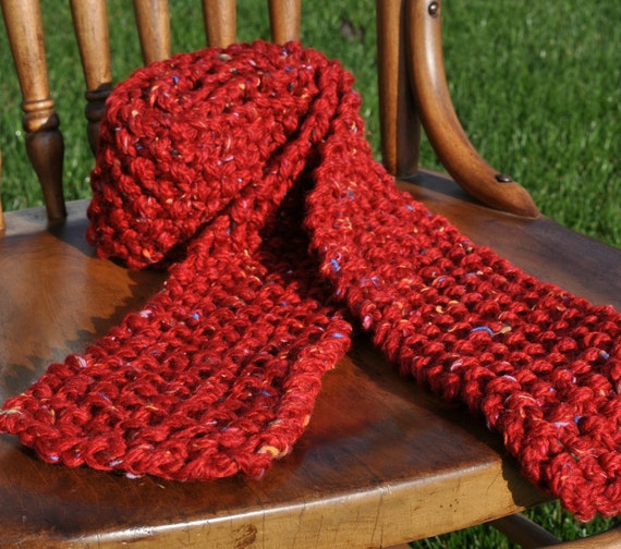 Red Knit Scarf - Extra Long Chunky Neckwarmer in Red with Multicolor Flecks