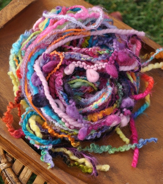 Destash Yarn - Scrap Bundle For Craft Projects - Pink - Purple - Turquoise - Yellow - Orange - Lime