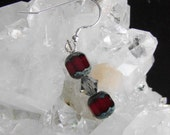 Ruby Red Crystal and Sterling Silver  Love Earrings