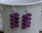 Purple Glass Briolette and Sterling Silver Earrings