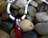 Ruby Red Crystal, Garnet and White Howlite Necklace