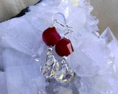 Swarovski Crystal Heart and Step Faceted Red Glass and Sterling Silver Dangle Earrings
