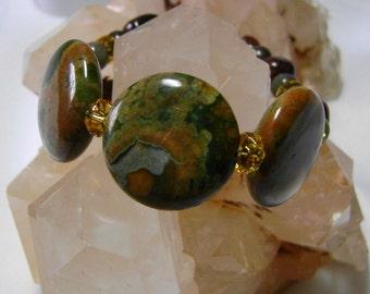Rhyolite Jasper Gemstone Bracelet, Green Jasper Jewelry, Jasper and Sterling Silver Bracelet, Rustic Gemstone Bracelet, Women's Jewelry