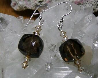 AAA Grade Smoky Quartz and Swarovski Crystal Earrings, Gemstone Earrings, Quartz Earrings, Smoky Quartz Earrings