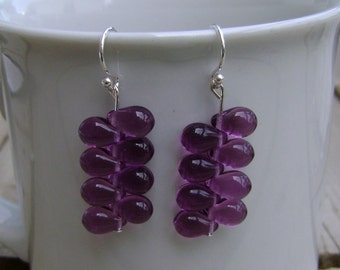 Purple Glass Briolette and Sterling Silver Earrings